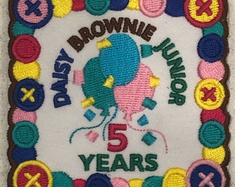 Girl Scout Junior /Cadette 5 Years Milestone Iron On Fun Patch