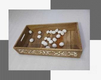 Preschool School Supplies Montessori Waldorf Reggio 17 Compartment Loose Parts Wooden Kids Sorting Tray Wooden Craft Box