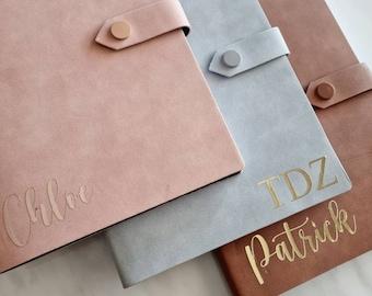 Personalised Journal notebook | Custom Name Journal | Custom intial journal | Lined Journal Gift | Soft pink and Tan Brown Journal