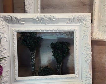 Antique Large Ornate White Frames Made from Moulded Resin