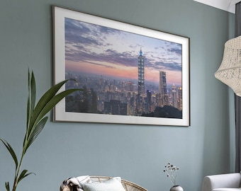 Xinji District, Taipei, Taiwan. Premium Photography Art Print.