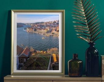 Cais da Ribeira. Porto, Portugal. Premium Photography Art Print.