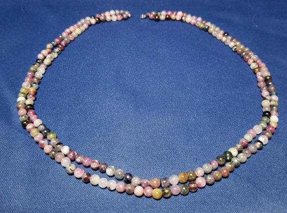 Two strands glass beads blue colors necklace 60s mix shape with cornflower shade Venetian beads and simulated pearls Art.696