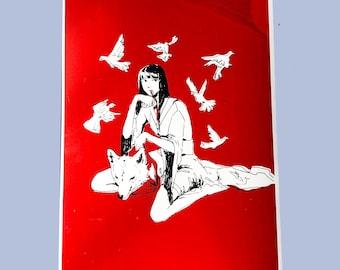 wolfgirl a4 red screenprint
