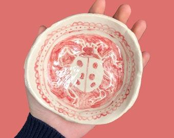 ceramic hand painted ladybug trinket dish