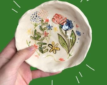 ceramic hand painted flower trinket dish