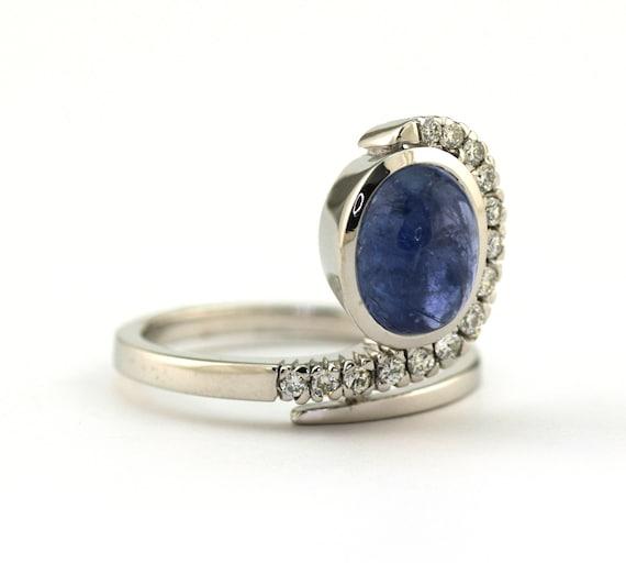 1960's-70's Natural Sapphire & Diamond Cocktail R… - image 3