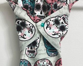Día de los Muertos, hanging hand towel, stay put towel, oven handle towel, day of the dead, kitchen towel, skull, dishwasher towel