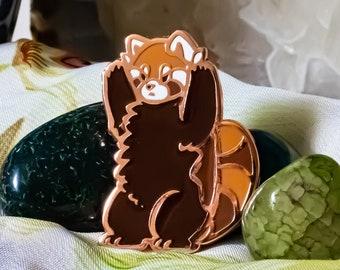 Intimidating Red Panda hard enamel pin