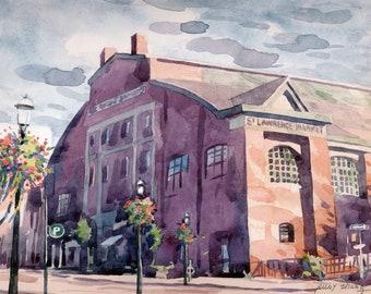 "Toronto  St Lawrence market    Toronto landmark  original watercolor 8' x 10"""