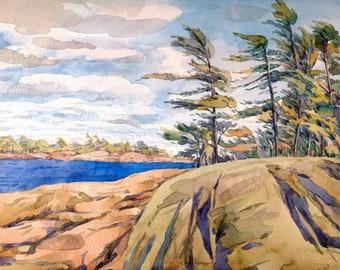 "Georgian Bay   Original art   Canadian landscape   Rocks and lake  8' x 10""  #4"