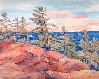 "Georgian Bay  Original art  Canadian landscape  lake   8"" x 10""  #7"