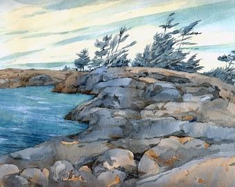 """Georgian Bay   Original watercolor  Canadian landscape  lake  8"""" x 10""""  #5"""
