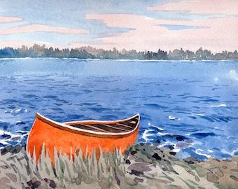 "Georgian Bay   Original art    Canadian landscape   red boat   8' x 10""  #1"