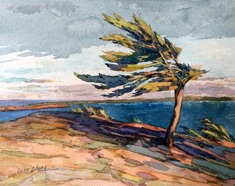 "Georgian Bay  Original watercolor  Canadian landscape  8"" x 10.5"""