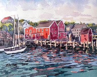 """Nova Scotia Canadian landscape original watercolor 8"""" x 9"""""""