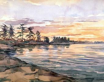 "Georgian Bay Original art   lake  Sunset    Canadian landscape 8"" x 10""   #12"