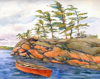 "Georgian Bay Original art  Red boat  lake Canadian landscape 8"" x 10""    #13"