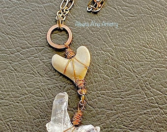 Heart Rock and Crystal Necklace