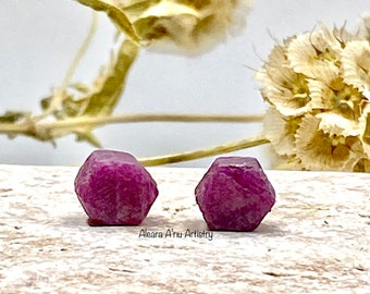 Ruby Stud Earrings with Sterling Silver Posts and Backs/Raw Ruby