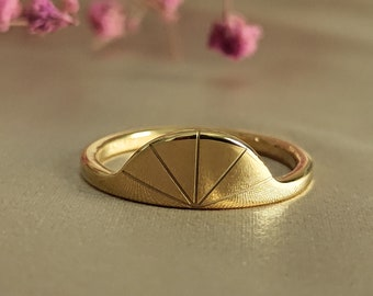 Brass ring adjustable ring minimalist ring gift for her geometric ring open ring brass jewerly semicircle ring crescent ring half moon ring