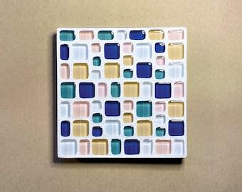 Mosaic Coasters set bar ware functional housewarming gift turquoise JEWEL Rich chocolate browns colors metallic italian glass tile