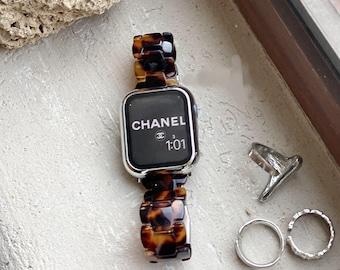 Tortoiseshell Apple Watch Band, 38mm 40mm 42mm 44mm, Resin Bling IWatch Band, Luxury Strap, Women Bracelet, Adjustable Watch Strap