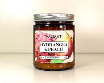 Hydrangea & Peach Botanical Candle in Amber Glass