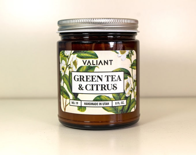 Green Tea & Citrus Botanical Candle in Amber Glass