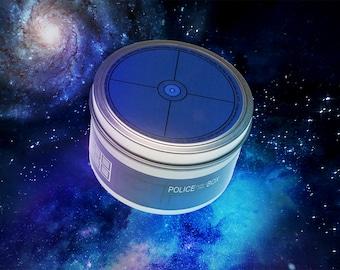 TARDIS Candle | Doctor Who Themed | Soy Wax Candle | Cedar | Oakmoss