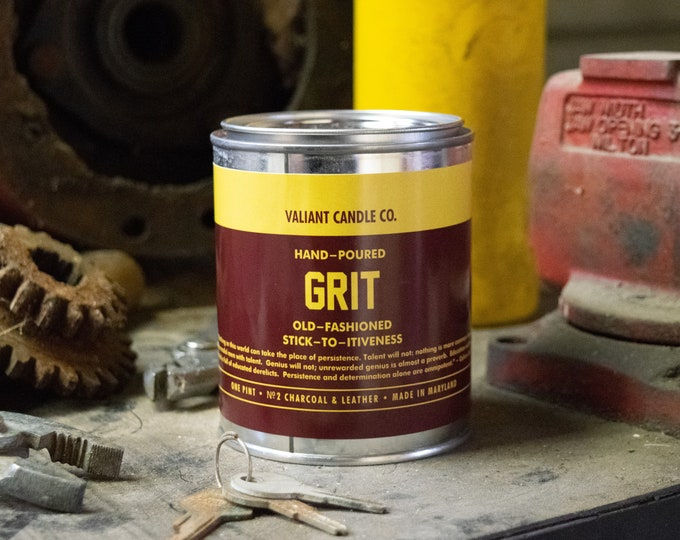 Grit Soy Wax Candle | Charcoal | Leather