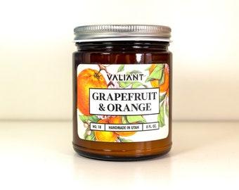 Grapefruit & Orange Botanical Candle in Amber Glass