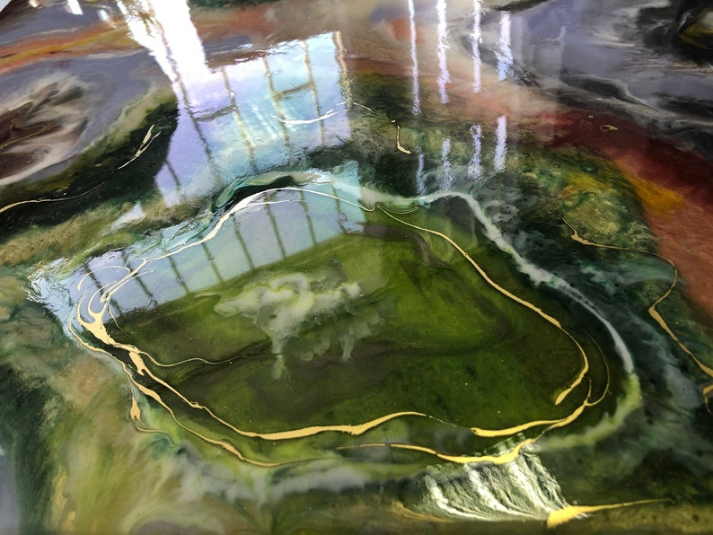 Green Emerald Geode Epoxy Table