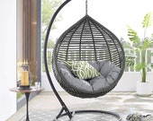 Outdoor Patio Wicker Rattan Teardrop Swing Chair in Gray Gray
