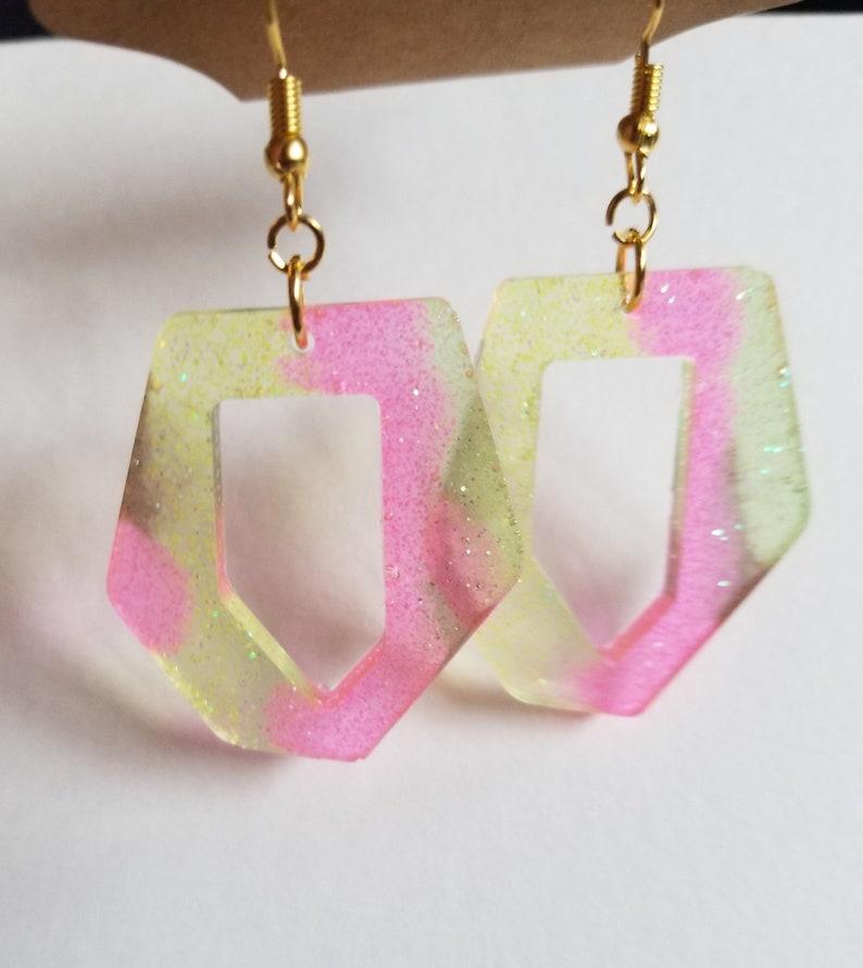Abstract Neon Glitter Resin Dangle Earrings