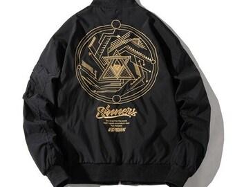 Men's Geometric Bomber Jacket