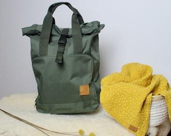 """Backpack """"följeslagare"""" - olive - green - backpacker - bag - unisex - wrap bag - wrap ping bag - handbag - daypack - rolltop"""