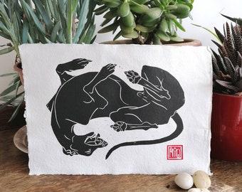 Beautiful, hand-printed, whippet linocut.