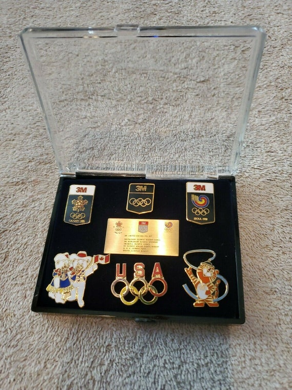 VTG 1988 Olympic Set Lot of 6 3M Limited Edition Pin Tie Tack Hat