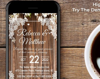 Rustic Digital Wedding Invitation For Mobile Phones and Social Media - 1080 X 1920 px