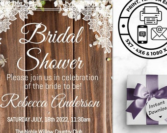 Rustic Bridal Shower Invitations - Includes Mobile & Printable Versions