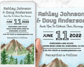 Mountain Wedding Invitations - Mobile & Print Versions Included