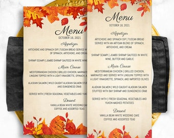Fall Themed Wedding Menu, Tall and Wide Versions Included