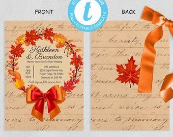 Fall Wreath Wedding Invitations