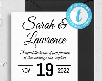 Minimalist Black and White Wedding Invitation
