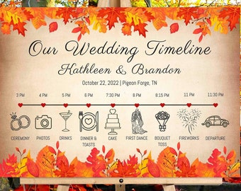 Fall Wedding Timeline Welcome Sign