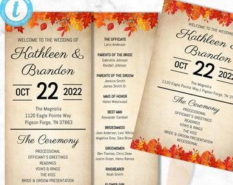 Fall Wedding Programs - Tall & Wide Wedding Program Fan Sizes Included