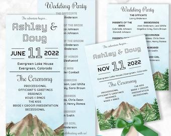 Mountain Wedding Programs
