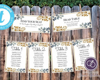 Eucalyptus and Gold Hanging Seating Chart