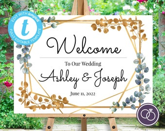 Eucalyptus & Gold Leaf Wedding Welcome Sign